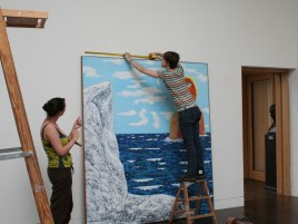 Interns helping with installation