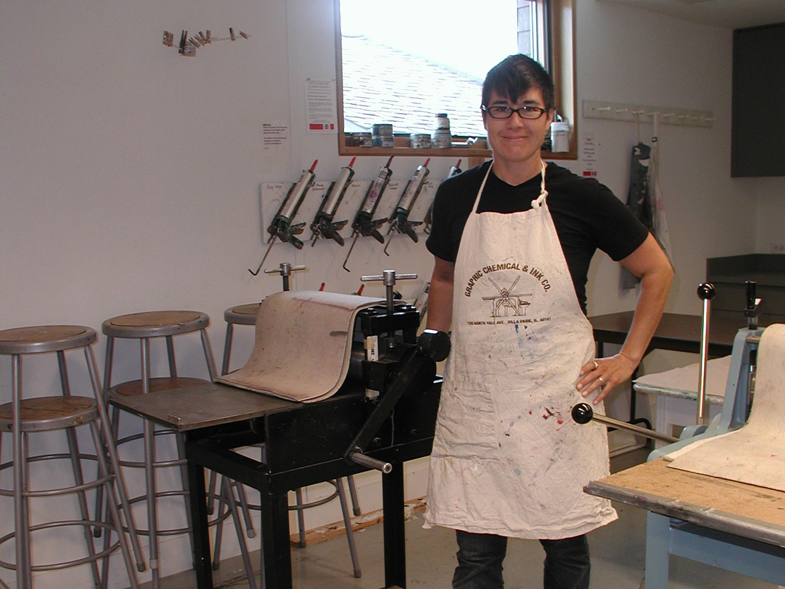 Intern Christa poses in the print studio