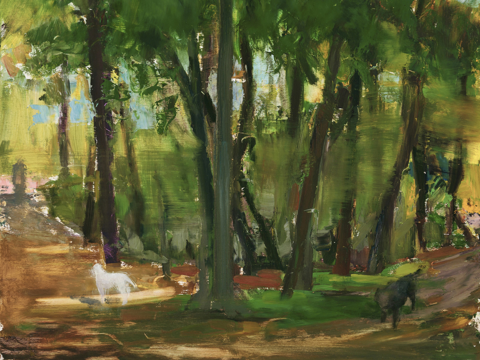 Donald Beal, Woods with Black and White Dogs, 2013 Recipient
