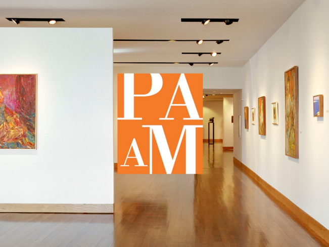 Interior shot of the Patrons Jalbert Gallery with PAAM Logo